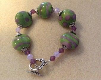 Green and Purple Lampwork Bracelet