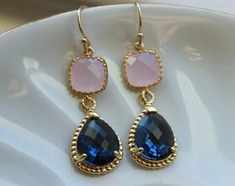 Sapphire Blue Pink Opal Earrings Gold Blush Pink Navy Earrings Teardrop Glass 14k Gold Filled Earwires - Bridesmaid Earrings Wedding Jewelry