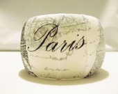RESERVED for M.T. Wood Jewelry, Handmade Jewelry, Paris Bangle, Fabric Decoupage Bangle, Eiffel Tower Decoupage Wood Bangle Bracelet, Bangle