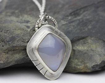 Chalcedony Pendant, Sterling Silver Necklace, Cornflower Blue, Artisan Necklace