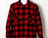 Vintage Men's Weather Wise OUTDORSMAN Wool Jacket Shirt - red black - Minnesota Woolen Co