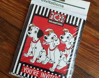 90s Disney 101 Dalmations Party Invitations - unopened