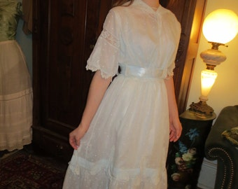 1900 Palest Blue EDWARDIAN Dotted Batiste & LACE DRESS