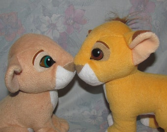 Vintage Disney Magnetic Nose Kissing Simba and Nala - Lion King Plush Stuffed Animals - Soft, Fuzzy