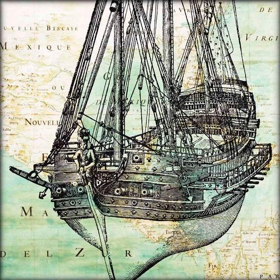 Nautical print Old vessel sailboat, ship nautical art, map art East  America, sailing art, sailboat decor, sailing decor, old war ship 11x14