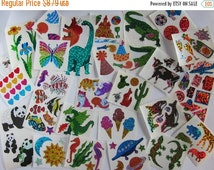 ON SALE Huge Lot of Vintage Hambly Glitter Stickers - 25 Mods Total - Dragon Dinosaur Panda Cat Sun Seahorse Lizard Champagne Tulip Scrapboo