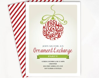 Printable Christmas Invitation with Ornament - Ornament Exchange Party Invite