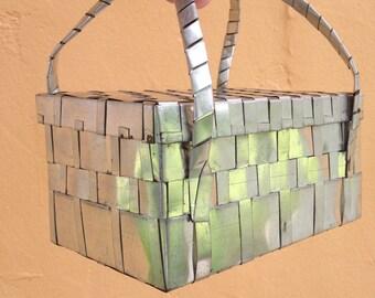 Handbag of Woven Metal from Mexico