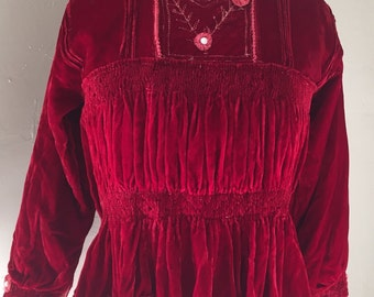Bolivian Blouse Velvet with Stretch Waist