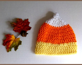 Crochet Autumn Candy Corn Hat Fall Photo Prop Beanie Infant Made to Order Newborn to Toddler
