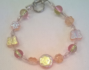 Peachy Pink Glass Bead Bracelet - 7 Inches Long - Toggle Clasp - Delicate Iridescent Bead Bracelet