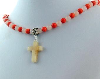 Cream Quartz Natural Stone Cross Rose Coral Pendant Necklace