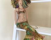 Mermaid Doll - Hippie Mermaid - Art Doll - Tropical Decor - OOAK - Boho Decor