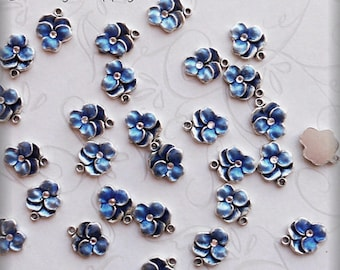 Blue Pansy enameled charms (x6)