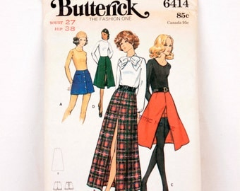 1970s Butterick 6414 // button down skirt and shorts