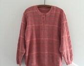 SALE Vintage 80's Blush Cotton Sweater / Geometric Knit Dusty Rose Pullover M L