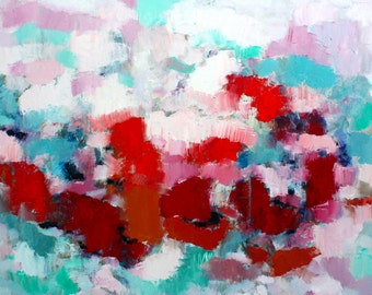 Abstract large original oil painting bright colours red orange pink blue turquoise
