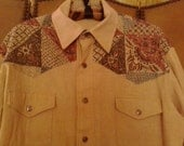 80s Patchwork print Western Shirt