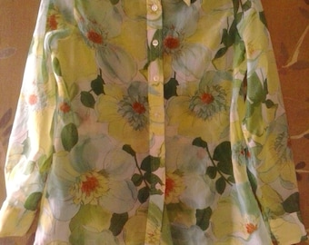 70s sheer green flowered blouse by Fritzi