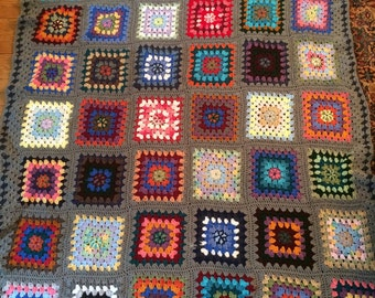 Wild Card Afghan in Fun Colors with a  Heather Teal Border