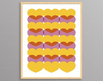 Bed of Hearts - a modern design print // 8.5x11 or 13x19 // poster for nursery or children's room