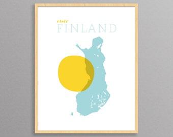 Visit Finland: a modern design print // travel poster // 8.5x11, 13x19 // Suomi Poster