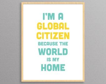 Global Citizen: a modern design print // typography poster // children's room poster // 8.5x11, 13x19