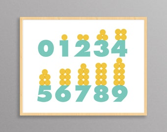 Nursery Print - Modern Numbers - a modern design print // 8.5 x11 or 13x19 // Learning Tool // Numbers poster for children