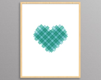 Plaid Heart - a modern design print // 8.5x11 or 13x19