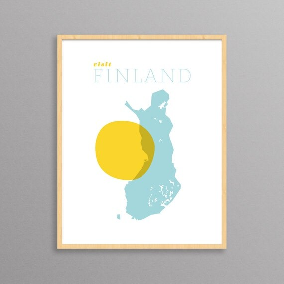 Visit Finland: a modern design print // travel poster // 8.5x11, 13x19 // Suomi Poster