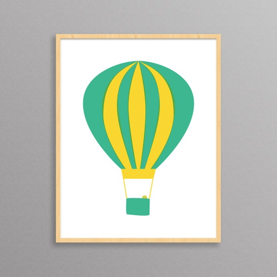 Hot Air Balloon - a modern design print // 8.5x11 or 13x19 // poster for nursery or children