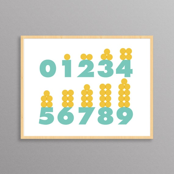 Numbers: a modern design print // 8.5 x11 or 13x19 // Learning Tool // Numbers poster for children