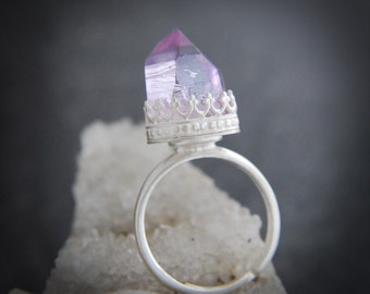 Veracruz Amethyst White crown sterling silver  .925 ring