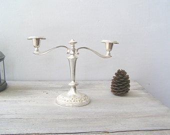 Vintage Candelabra 2 arms, Art Deco Silverplate Candle Holder, Mid Century Modern Wedding Table Centerpiece, Newlywed Gift