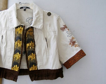 Funky Waist Jacket Upcycled Autumn Top, Altered Jacket Off White Brown Size L, Indie Jacket Boho, Glitter Trim Crop Jacket Woman Blazer ooak