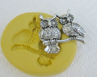 Mold of two owls   -   silicone mold for any crafts, fondants, cake decor, jewelry making, FIMO, Sculpey, wax, soap..