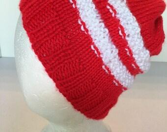 Mens Womens Knitted Skull Cap Hat Slouch Cap Ski Hat Winter Hat Beanie Watch Cap Tam Tammy Red w White Stripes