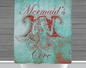 Mermaid Cove Shower Curtain: Turquoise Beach Chic | Made in the USA | 12 Hole Fabric Bathroom Decor
