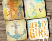 Jersey Shore Coaster Set: Anchor Down the Shore Beach House Style Cork Back Home Accessories