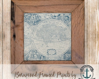 Old World Map - Framed in Reclaimed Barnwood Nautical Decor - Handmade Ready to Hang | Size and Price via Dropdown