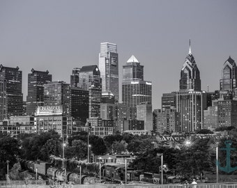 Philadelphia Skyline Black and White from South Street Bridge Cityscape Home Decor