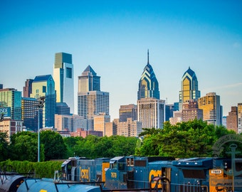 Philadelphia Skyline from South Street Bridge Cityscape Photography Product Options and Pricing via Dropdown Menu