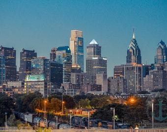 Philadelphia Skyline at Dusk from South Street Bridge Fine Art Photography