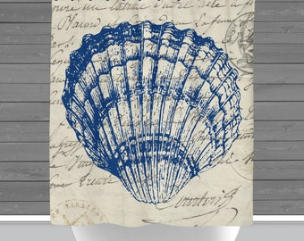 Seashell Shower Curtain: French Script Seaside Beach House Nautical   Made in the USA   12 Hole Fabric Bathroom Decor