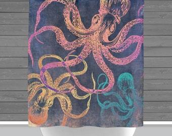 Octopus Shower Curtain: Nautical Sealife Bath Curtain   Made in the USA   12 Hole Fabric Bathroom Decor