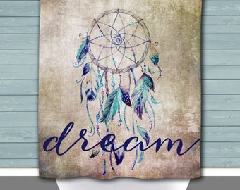 Dream Shower Curtain   Dreamcatcher Motivation Inspiration   12 Eyelet/Button Hole   Size and Pricing via Dropdown