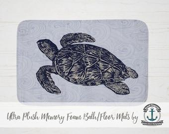Plush Bath Mat - Sea Turtle Ocean Waves | Nautical Beach House Decor | Thick Memory Foam + Mold Resistant | Choose Size at Checkout.