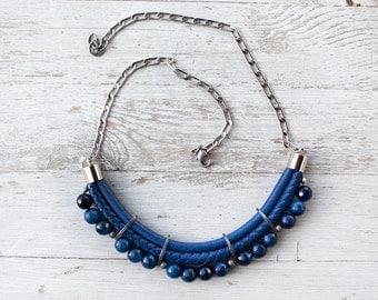 Meteorites Denim blue Statement Necklace by Pardes