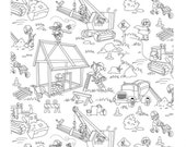 Building Fun Coloring Fabric from Michael Miller's COLOR ME Collection - In Stock