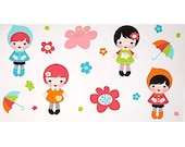 Whatever The Weather Kawaii Rainbow Girls PANEL From Robert Kaufman's Whatever The Weather Collection by Lisa Tilse